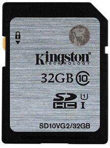 32GB YES Original Kingston SD SDHC/XC C10 Flash Memory Card f.Camera