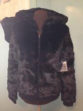 NWT Victoria's Secret Pink Fashion Show Black Faux Fur Hoodie Jacket S