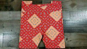 LULAROE Tall Curvy TC orange geometric abstract fall print Leggings