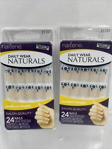 (2) Nailene Daily Wear Natural Medium Glue On 24 Nails Blue Diamonds French