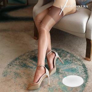 Vintage Ultra Sheer Glossy No Elasticity Stockings Matt Sheen Thigh Highs