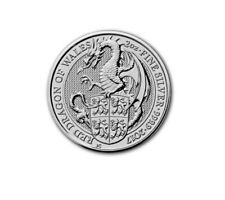 Queens Beasts Red Dragon Of Gales 2017 2 Onza Plata Plata Argent Reino Unido