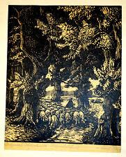 Carl Köppl,Holzschnitt-Handdruck,um 1900/10,Schafherde im Wald
