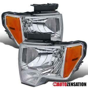 For 2009-2014 Ford F150 Pair Clear Headlights Lamps Amber Reflector Left+Right