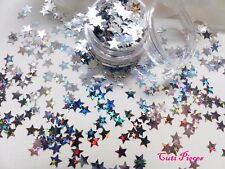 3D Nail Art *Heavenly Star* Silver Xmas Stars Holographic Pot Spangles Glitters