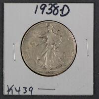 1938-D 50c WALKING LIBERTY HALF DOLLAR *KEY DATE COIN* LOT#K439