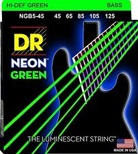 DR NGB5-45 5 string Hi-Def Neon Green Coated Bass Guitar Strings 45-125 MED