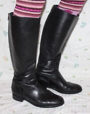 80er vintage botas de cuero 39 80s True VTG Leather Boots uk6 negro cuero genuino