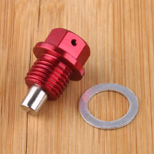 Red Engine Magnetic Oil Pan Drain Plug Bolt Anodized Crush Washer M14 x 1.5