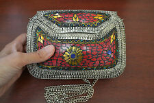 TURQUOISE RED CORAL BLUE LAPIZ LOOK HANDMADE METAL PURSE F-1093A