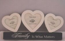 "Family Photo Frame Triple Heart Picture Wooden Cream Black 4x4"" 3x3"" F0654a"