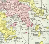 1899 Antique Map of GREECE Vintage Greece Map Travel Gallery Wall Art #5918