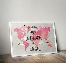 Acquerello Mappa del mondo, il signore degli anelli preventivo, poster, formato A3 11.7 x 16.5 in