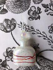 Perfume Bottle Art Glass White Red