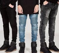 Fashion Mens Designed Straight Slim Moto Biker Jeans Denim Pants Trousers Skinny