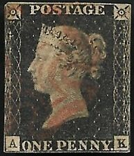 1840 SG2 1d Penny Black 3 Margins Plate 10 Rare Red MX Very Fine Used CV £1500