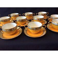 10 tasses et sous-tasses prestiges en porcelaine de LIMOGES Sigismond Mass 1900