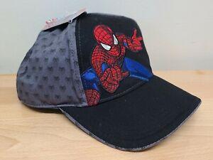 Kids Marvel Spider-Man Snapback Adjustable Hat Brand New With Tags Black & Gray
