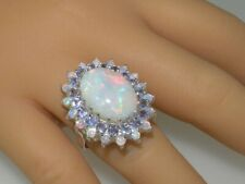 3CT Oval Round Cut Fire Opal 14k White Gold Over Tanzanite Cluster Wedding Ring