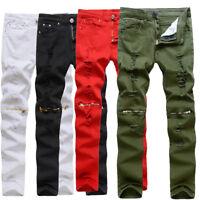 Fashion Mens Skinny Slim Biker Pants Knee Zipper Distressed Ripped Denim Jeans