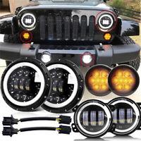 """Round 7"""" LED Headlight + Fog Light+Turn Signal Lamp For Jeep Wrangler JK 07-18"""