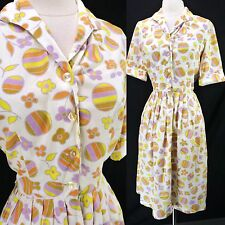 Vintage 50s Novelty Beach Ball Flowers Print Colorful Shirtwaist Day Dress S/M