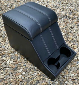 Land Rover Defender Cubby CHUBBY Box Black Leather Grey White Stitching *PREMIUM