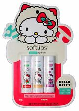 SOFTLIPS* 3pc Set HELLO KITTY Limited Edition HOLIDAY/CHRISTMAS Lip Balm NATURAL