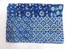Indian Twin Indigo Print Kantha Bedspread Quilts Blanket Throw Bedding Handmade