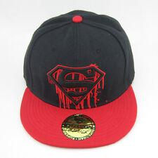 New DC Comics Red Black Adjustable Snapback Superman flat baseball Hat cap