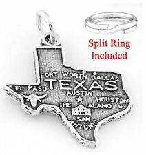 "STERLING SILVER ""STATE OF TEXAS"" CHARM W/ SPLIT RING"