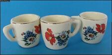 1930s VINTAGE HANDPAINTED POTTERY PORCELAIN 3 MINIATURE TEA CUPS