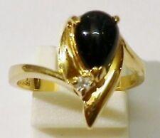bague bijou vintage plaqué or poire noir solitaire cristal diamant taille 54 p