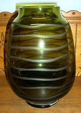 Quality Green Glass Vase w/ Etched Rings - Rovelli Swiss Crystal