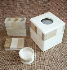 4 pc. Bathroom Accessory Set Stone Tissue Box Cover Soap Toothbrush Cup Holder