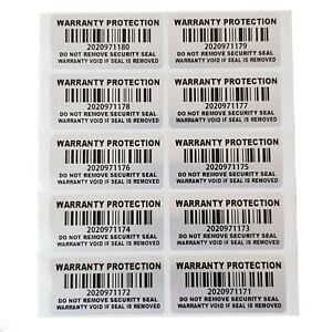 100 Garantiesiegel warranty protection Garantie Siegel Seal Barcode 40x20 silber