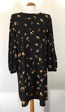 Mango Black Orange Floral Autumn Dress With Pouf Sleeves Large XL