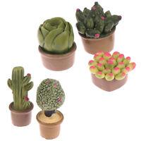 2 piezas 1:12 Miniatura Plantas Verdes Decoración Muebles de Casa de Muñecas