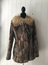 $4595.00 NWT Natural Sheared Beaver With Raccoon Collar by Peter Mark Size M/L