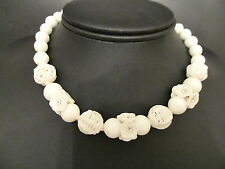 Vintage Hand Knotted White Glass Birds Nest Bead & Flower Cluster Necklace Japan