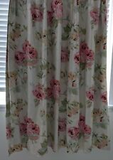 Laura Ashley Satin Blackout curtains floral pink cream rouged 82x147cm