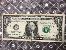 SOLID FIRST QUAD 8888 in $1 Dollar Bill FANCY UNIQUE SERIAL NUMBER NOTES