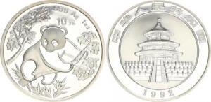 China 10 Yuan Panda 1 Unze Silber 1992 China Volksrepublik Large Date St in Kaps