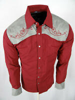 Mens Western Rodeo Cowboy Shirt Burgundy Suede Shoulder Paisley Embroidered Snap