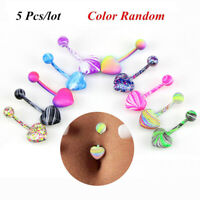 5 Pcs/lot Sexy Barbell Coating Belly Navel Button Rings Body Piercing Jewelry