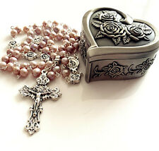 Real Pearl Beads Catholic Mary Help of Christians Rosary Necklace Box  (Purple)