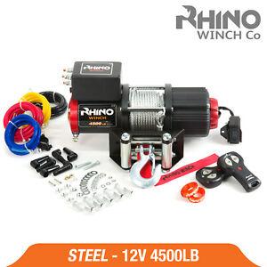 Rhino Electric Winch - 4500lb 12v Steel Cable - Heavy Duty, Boat, 4x4 Pulley