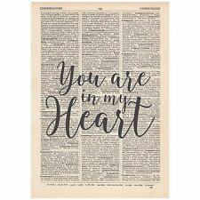 You Are In My Heart Dictionary Print OOAK, Art, Alternative, Unique, Gift,