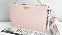 VICTORIA'S SECRET Blush Pink V-Quilted Crossbody / Clutch Bag BNWT