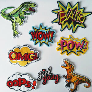 Embroidered Cartoon Comic Word Iron-on Sew-on Fabric Applique Patch Badge UK